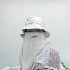 Mustache, Japan, 2008 (Simon Vahala) Tags: portrait woman white 6x6 japan mediumformat photography photo fuji fotografie photos towel hasselblad climbing hut squareformat   fujisan japo climber japon  japones giappone nihon mtfuji japanesegirl japons japn   fotky  vahala vocalno  japonaiserie japonska japonsko japnico