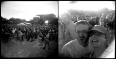 in the crowd (pixietart) Tags: nyc bw selfportrait film nycpb brooklyn square holga diptych gothamist mccarrenpark beirut pixietart deerhoof poolparties davidlevy