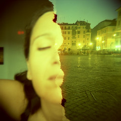 half | me (bastet in the sky with diamonds) Tags: woman selfportrait rome 120 film me self myself toy holga lomo xpro toycamera crossprocessing half autoritratto selfish halfframe memyselfi valentina bastet campodeifiori pellicola mezzo met valentinacinelli
