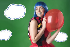 Cloud9 (serenamola) Tags: fashion kpop cute red blue green colour color balloon portrait photography clouds love valentine