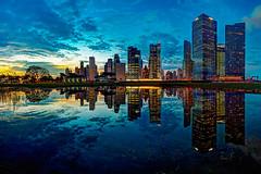 Marina Financial District (jtd89) Tags: city sunset urban reflection marina evening bay singapore cityscape district sony shift 17 tilt financial tse 17mm a7r