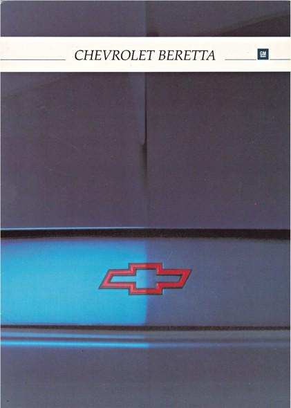 auto cars chevrolet car voiture vehicle 1992 brochure fahrzeug beretta folleto prospekt carbrochure opuscolo brochura chevroletberetta broschyr autobrochure