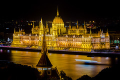 Night Time view of the Hungarian Parliament Building over the Danube River, Budapest, Hungary, Europe
