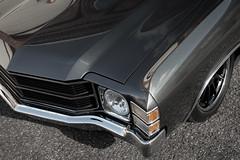 Sleek (ISP Bruno Laplante) Tags: ass car wheel sport 1971 camino gray bad fast el front chrome headlight metalic