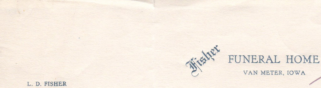 fisher funeral home letterhead van meter iowa mitch o tags old