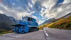 Waiting For Work (fotomanufaktur-hertzsch.de) Tags: road travel blue light sky cloud sunlight mountain alps metal austria colorful technology machine snowblower hochalpenstrasse grosglockner