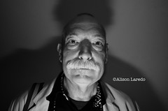 Impromptu Portrait of a man with a moustache (alison laredo) Tags: shadow blackandwhite bw man moustache alisonlaredo