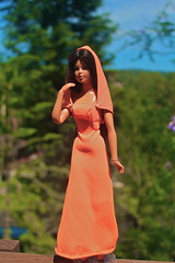 Suntan Tuesday Taylor wearing Special Value Fashion (DeanReen) Tags: blue sky orange green nature fashion vintage doll dress outdoor retro special taylor blonde tuesday 1975 hood suntan 1978 value brunette 1970s 1977 1979 1976