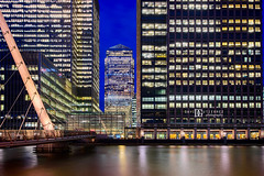 """Keeping Up City"" Canary Wharf, London, UK (davidgutierrez.co.uk) Tags: city uk longexposure greatbritain travel bridge blue windows england urban color colour london art colors beautiful architecture night skyscraper buildings photography canal twilight nikon europe cityscape colours photographer unitedkingdom britain capital structure le londres bluehour canarywharf londra offices eastlondon  onecanadasquare towerhamlets londyn ultrawideangle    d810 nikond810 1424mm davidgutierrez londonphotographer afsnikkor1424mmf28ged davidgutierrezphotography financialcentres"