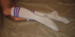 White Knee High Socks (sockstargirl) Tags: sexy feet socks dirty sweaty smelly footfetish sexyfeet femalefeet sexysocks sockfetish