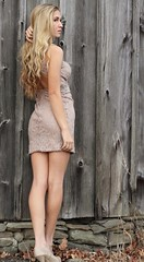 IMG_7107_Backside of the barn with a beautiful girl (donaldbrainard1) Tags: wood woman texture girl beautiful fashion female barn canon hair fun model long pretty dress sam legs gorgeous country young formal skirt 7d figure blonde heels tall seventeen fashionable longblondehair