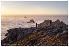Pointe du Raz, Brittany, France (Bigmob Dontwannastop) Tags: sunset sea atlantic coast water dusk woman man dog rock cap