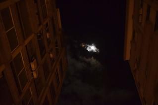 Cloudy moonlight between two block of flacs