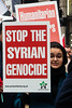 Syria Solidarity March - Woman with Placard (stevedexteruk) Tags: syria syrian genocide aleppo sodiarity protest demo demonstration placard protesting protestor woman war civilwar 2016 regentstreet london westminster city
