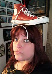 Day 343 of Year 7- The Gal with One Red Shoe (Pahz) Tags: 365days selfportrait hereios wah wh werehere inspiredbycinema movies themanwithoneredshoe redshoe converse shoe