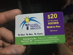 To get connected to the internet, you have to buy wificards at the telecom office or local shops that sell them. This is common at several pacific island nations.