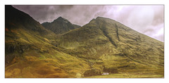 Glencoe (williamwalton001) Tags: sky stone scotland colourimage clouds mountains borders building grasses green framed fineart trees texture softfocusing rockpaper