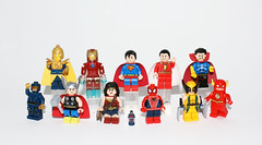 Super Heroes and Primary Colors (Kaiju Dan) Tags: superman wonderwoman theatom spiderman theflash wolverine thor cyclops doctorfate ironman captainmarvel shazam doctorstrange