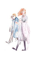 bringing a book to gift exchange (Deer Jan) Tags: illustration fashionillustration peopleonthestreets 時尚插畫 色鉛筆手繪 prismacolor