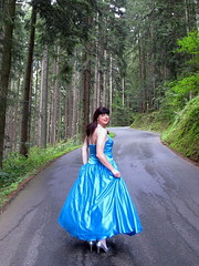 Turning around (Paula Satijn) Tags: satin silk shiny gown dress skirt girl lady forest blue elegant beauty ballgown classy outdoor nature girly feminine tgirl transvestite woods trees silver pumps heels smile tranny