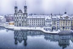 Snowfall in Lucerne (jgokoepke) Tags: snowfall lucerne switzerland reuss hdr panorama winter clouds reflections sanktfranzxaverchurch church jesuiticchurch