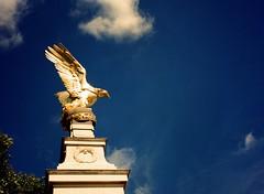 Royal Air Force memorial, Victoria Embankment (oh it's amanda) Tags: fujiga645i ga645i mediumformat expiredfilm expiredin1997 kodakektachrome64t kodak64t london londonengland crossprocessed xpro