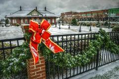 Lucky for me (builder24car) Tags: snow redribbon christmasdecorations ironfence railroaddepot downtown leecounty sanfordnorthcarolina