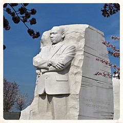 MLK Monument (karma (Karen)) Tags: washingtondc monuments mlk statues sculpture marble trees branches blossoms texture squared