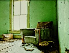 FEELING THE GREEN (akahawkeyefan) Tags: house chair window abandoned derelict snow montana davemeyer box cardboard