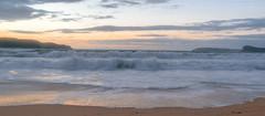 Seascape Sunrise (Merrillie) Tags: uminabeach sand landscape nature australia mountains nswcentralcoast newsouthwales clouds nsw beach waterscape centralcoastnsw umina water photography sunrise oceanbeach seascape sky sea outdoors dawn