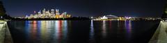 Sydney Night Rainbows - Pano (dswtan) Tags: bridge panorama colors night dark harbor lowlight nightscape pano wide sydney vivid australia highlights nsw newsouthwales stitching cbd sydneyoperahouse sydneyharbourbridge centralbusinessdistrict farmcove kdd2015