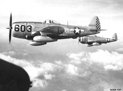 P-47D Thunderbolt fighters in flight over Italy (1945)