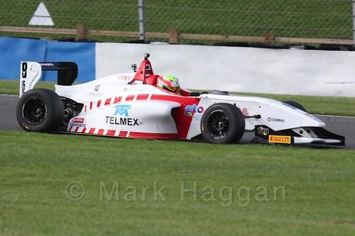 Lanan Racing's Rodrigo Fonseca in BRDC F4 Race 3 at Donington Park, September 2015