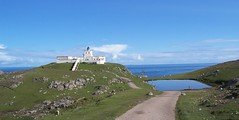 Strathy Point Lighthouse, Strathy, North of Scotland, Sutherland, July  2015 (allanmaciver) Tags: blue light lighthouse white green contrast point coast early shades location edge 1958 sutherland strathy allanmaciver