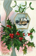 Antique Christmas Postcard - Holly (Brynn Thorssen) Tags: santa christmas xmas red holiday snow green vintage gold antique holly postcards yule fatherchristmas santaclaus merrychristmas santaklaus happynewyear happychristmas yuletide oldsaintnick