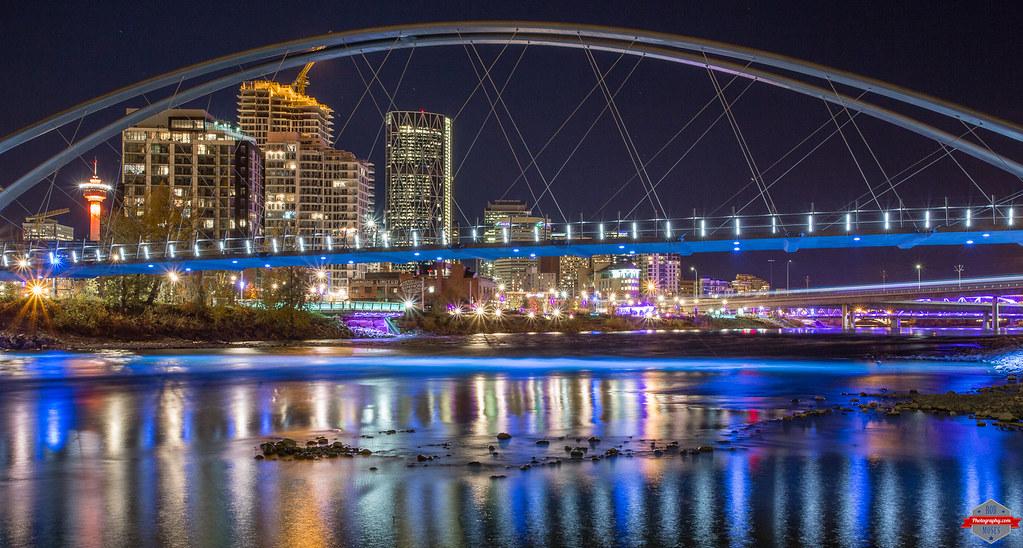 8fb1b323d204 Colourful Night (Rob Moses) Tags  city longexposure bridge sky canada  colour calgary tower