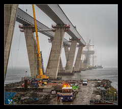 Construction of the second Forth crossing continues in very poor weather. (stoneblower213) Tags: bridge sea beach photoshop buildings lens coast photo sony south structures kitlens places cc forth shore software photoediting nik editing tall kit fe shipping locations topaz queensferry lightroom southqueensferry oss the tallbuildings 2870mm a7ii f3556 scoltland niksoftware theforthbridge photoshopcc sonyfe2870mmf3556oss sonya7ii ilce7m2 sonyilce7m2
