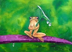 Fog and rain, by Ione - DSC01241 (Dona Minúcia) Tags: cute art rain animal umbrella watercolor painting paper leaf branch arte chuva frog study sapo folha fofo pintura galho aquarela guardachuva gracinha