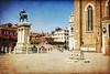 Venice (romancandletours) Tags: italy panorama texture bar vintage scrapbook monumento grunge retro chiesa piazza turismo venezia statua ristorante carta paesaggio sanmarco lampione turisti palazzi edifici pozzo panchina rossa testura campa cisterna panca invecchiata storici pergamena antichizzata retrã²
