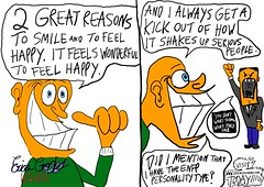 ENFP personality type : 2 reasons why I smile cartoon by ENFP cartoonist Erica Crooks (officialericcrooks) Tags: hilarious funny lol personality type erica types easygoing enfp crooks devilmaycare freespirit happygolucky funnycartoon enfps ericacrooks