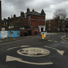 (fran&ois) Tags: road street brick london clouds grey cafe roundabout signage