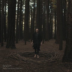 witches capture (bla_q2000) Tags: trees portrait art pine forest self canon dark square sticks woods witch wizard magic fine floating melbourne concept conceptual witchcraft warburton 500px ifttt
