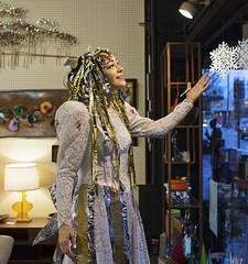 1657 Violetta the Snow Princess (eyepiphany) Tags: snow portlandoregon costuming mime snowqueen hawthorneboulevard snowprincess livingmannequin magicchristmas shoppingonhawthorne asylumgiftshop