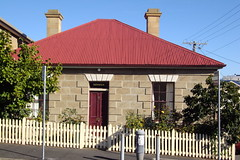 Hobart. Old stone square cottage in Battery Point. From the 1820s. Named Berwick. (denisbin) Tags: hobart tasmania salamancaplace cottage batterypoint egyptianstyle jewishsynagogue synagogue cosmos governmenthouse derwentriver temple ladyfranklin greektemple classical