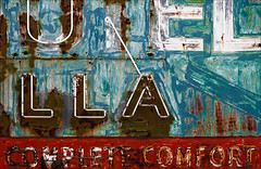 Comfort & Joy (Junkstock) Tags: aged abandoned artifact artifacts arizona advertisement advertising blue color corrosion corroded decay decayed distressed graphics graphic miami neon nostalgic nostalgia old oldstuff patina paint red rustic relic rust rusty rusted sign signage signs text textures texture typography type weathered