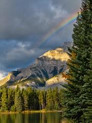 Rainbow near Banff, Alberta (virgil martin) Tags: rainbow mountains rockymountains alberta canada panasoniclumixfz1000 oloneo gimp