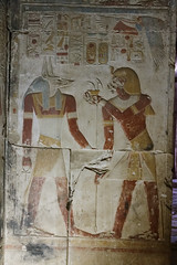 Seti I and Wepwawet (Chris Irie) Tags: egypt abydos temple seti wepwawet relief
