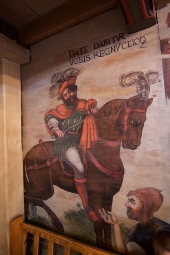 Św. Marcin dosiadający konia pod chórem w nawie północnej w kościele w Boguszycach