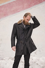 Cifonelli (Menswear Market) Tags: menswear fashion clothing man beard leather jacket cifonelli model disappointed troubled coat