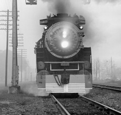 Lakeland close-up, SP 4449 (clarkfred33) Tags: americanfreedomtrain sp4449 daylightlocomotive southernpacific sphistory lakeland closeup fog railroadscene railroadphotography railroadadventure 1976 historic vintage vintagephoto historicphoto blackandwhite action steamlocomotive historiclocomotive